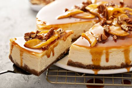 Apple caramel pecan cheesecake