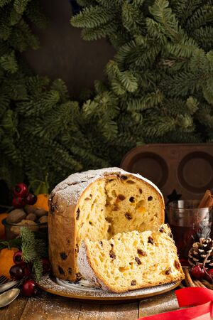 Traditional Christmas panettone with dried fruits Stock fotó
