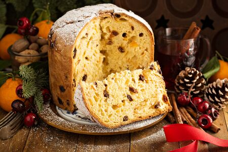 Traditional Christmas panettone with dried fruits Archivio Fotografico