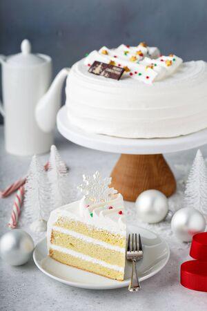 White Christmas cake on white plate