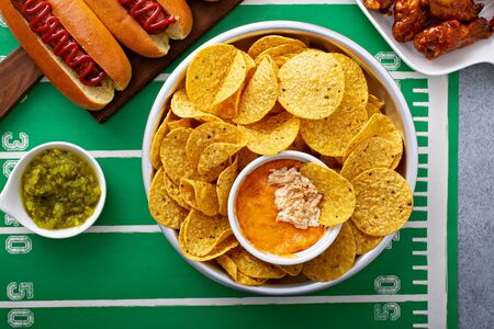 Buffalo chicken dip and tortilla chips, super bowl food
