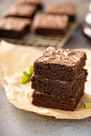 Stack of moist fudgy brownies
