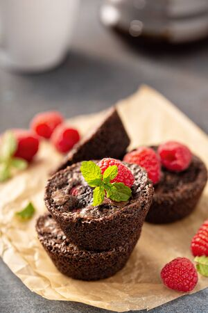 Homemade brownie bites with raspberries, chocolate cake treat Banco de Imagens