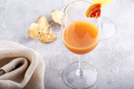 Refreshing mimosas with orange juice for brunch