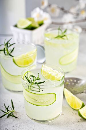 Cucumber gin gimlet cold and refreshing spring cocktails