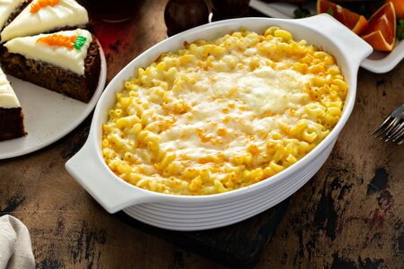 Mac and cheese on a festive Easter dinner table