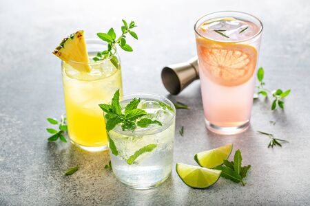 Refreshing summer cocktails on the table
