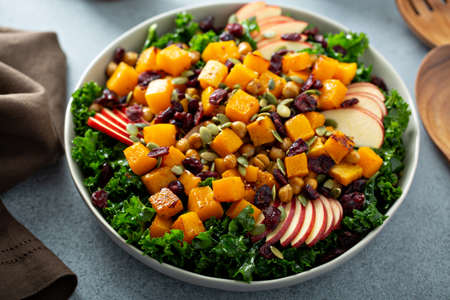 Fall salad with kale, roasted squash and apples