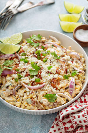 Grilled corn and jalapeno salad with cheese and bacon