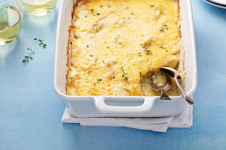 Cheese and potato gratin Stok Fotoğraf
