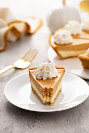 Slice of pumpkin pie with a cheesecake layer 版權商用圖片