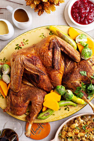 Traditional thanksgiving turkey butterflied