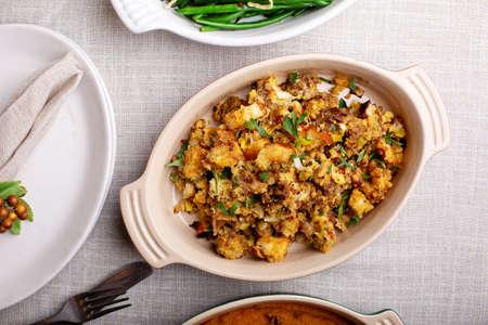 Traditional Thanksgiving side dish, cornbread stuffing Stok Fotoğraf