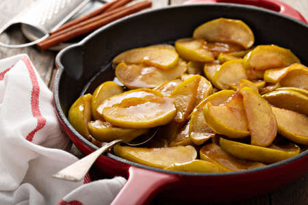 Fried apples in a cast iron skillet
