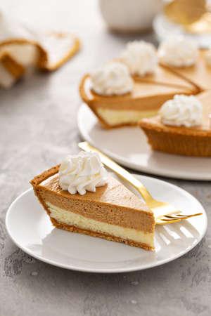 Slice of pumpkin pie with a cheesecake layer Stok Fotoğraf