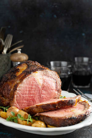 Roast beef with potatoes for a holiday dinner