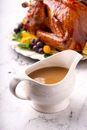 Turkey gravy for Thanksgiving Imagens