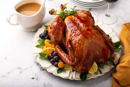 Thanksgiving or Christmas turkey on a serving plate