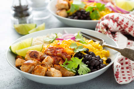Mexican burrito bowl with salsa chicken and beans