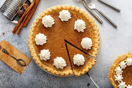 Traditional sweet potato or pumpkin pie, fall desssert