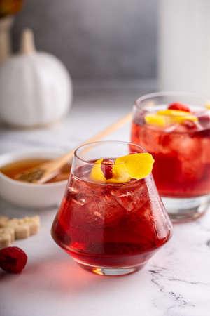 Raspberry lemon cocktail in a rocks glass