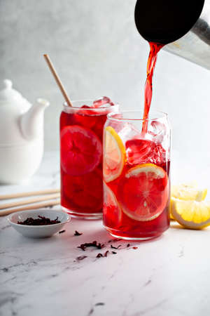 Lemon hibiscus tea served cold with ice