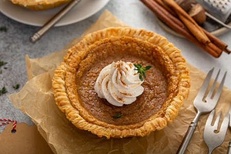 Small pumpkin pie with whipped cream and cinnamon