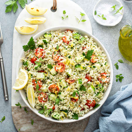 Tabbouleh salad with cauliflower rice and vegetables