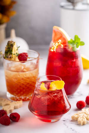 Variety of raspberry cocktails, bright and refreshing drinks