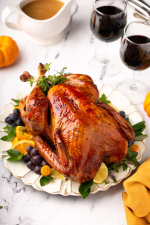 Whole roasted turkey for a celebration dinner