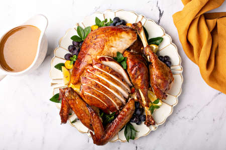 Carved roasted turkey for the Thanksgiving celebration