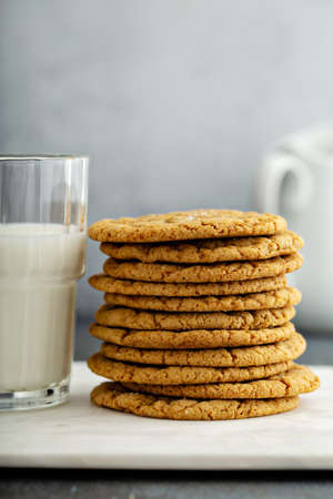 Chewy and thin snickerdoodle or molasses cookies 版權商用圖片