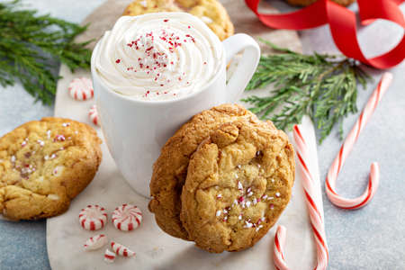 Peppermint white chocolate cookies baked for Christmas Фото со стока