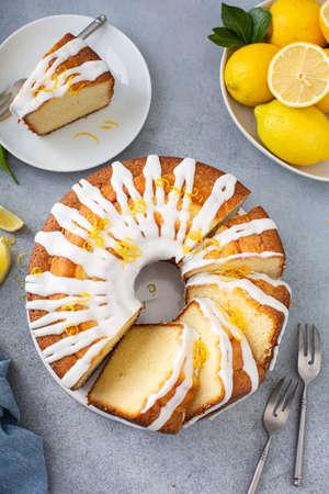 Lemon pound cake with powder sugar glaze