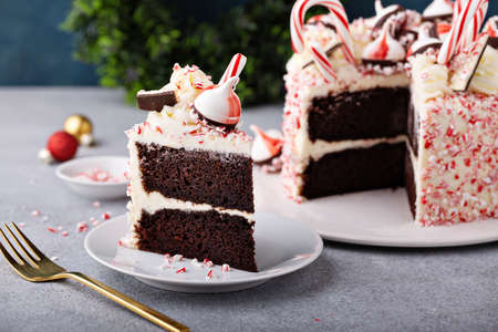 Peppermint bark and chocolate cake for Christmas on a festive background