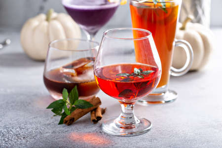 Variety of holiday cocktails made for Thanksgiving party