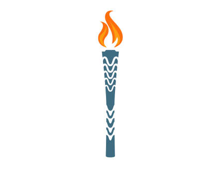 A blue torch with a fire burning yellow