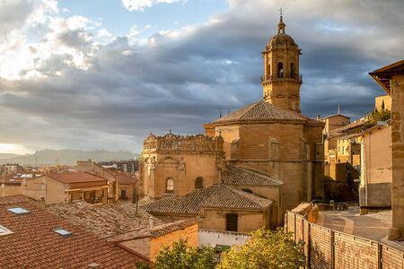Bastida, wine city of the Rioja Alavesa, Spain, at sunset 版權商用圖片