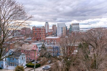 Providence, Rhode Island, city skyline from Prospect Terrace Park on a winter day 版權商用圖片