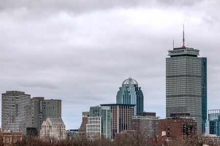 Boston city skyline with Prudential Tower and urban skyscrapers, Massachusetts
