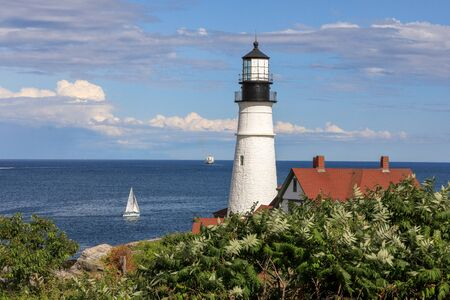 Portland Head Lighthouse at Cape Elizabeth, Portland, Maine 版權商用圖片 - 140585903