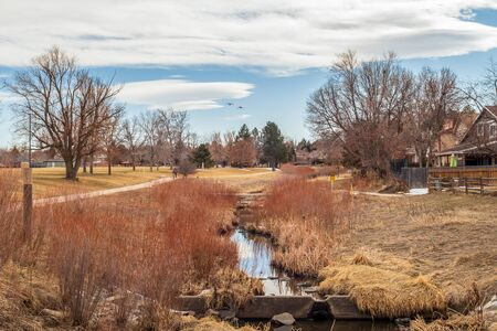 Beautiful landscape with a creek and bare trees in the small neighborhood park at the end of winter, Aurora, Colorado 版權商用圖片 - 142012301