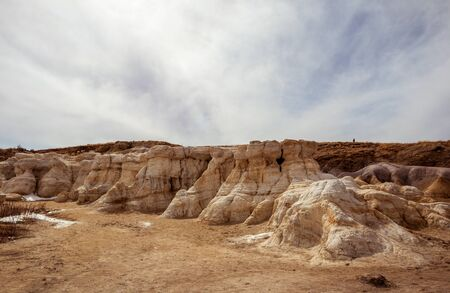 Paint Mines Interpretive Park, Unique and Colorful Ancient Geological Site in Colorado 版權商用圖片 - 143046961