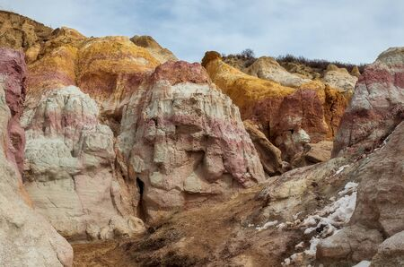 Paint Mines Interpretive Park, Unique and Colorful Ancient Geological Site in Colorado 版權商用圖片 - 143046931