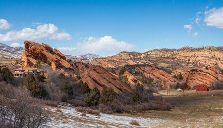 Beautiful rock formation near Chatfield State Park, Colorado 版權商用圖片 - 143638353