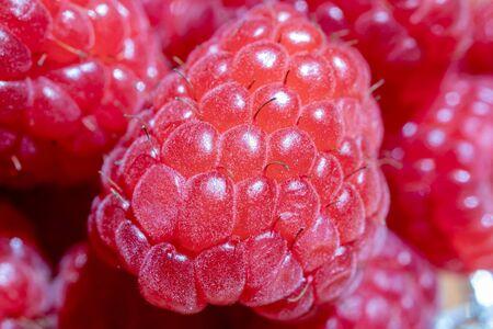 Macro image of fresh raspberries. Raspberries close-up. 版權商用圖片