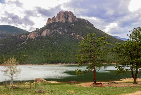 Springtime view of Wellington Lake and Castle Mountain, Colorado, USA