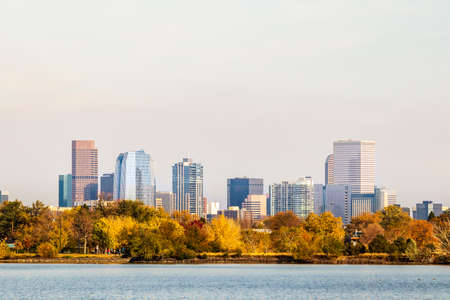 Downtown Denver, Colorado, from Sloan Lake on an Autumn day