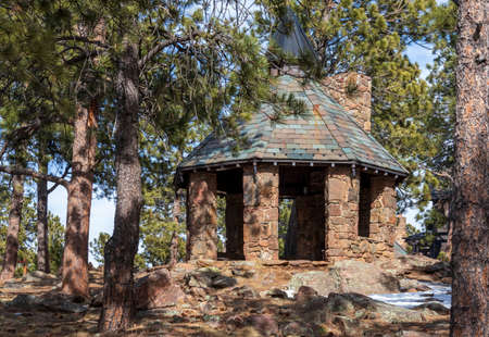 Beautiful park gazebo in the Lookout Mountain Nature Center and Preserve near Golden, Colorado