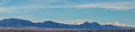 Colorado Living. Denver, Colorado - Denver Metro Area Residential Winter Panorama with the view of a Front Range mountains, viewed from Inspiration Point park in Denver, Colorado